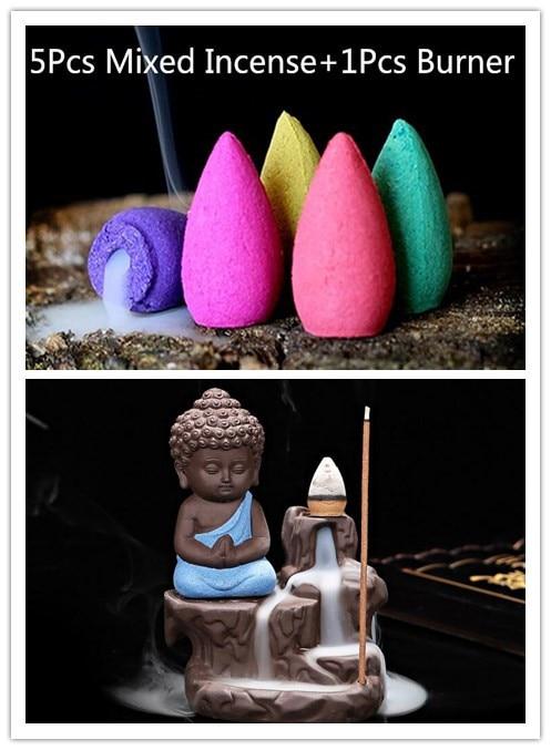 5 unids conos de incienso + quemador Creative Decoración para el hogar el pequeño monje Pequeño Buda censer backflow quemador de incienso hogar oficina de té