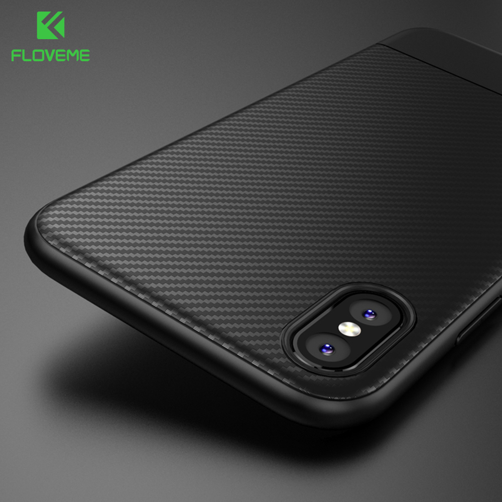 FLOVEME For iPhone X 10 Case 2017 Luxury , Business Carbon ...