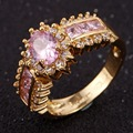 New Design Fashion Brand Jewelry Unisex Nobby Pink Stone Yellow Gold Filled Best Wedding Ring Gift Size 7 8 9 10 11