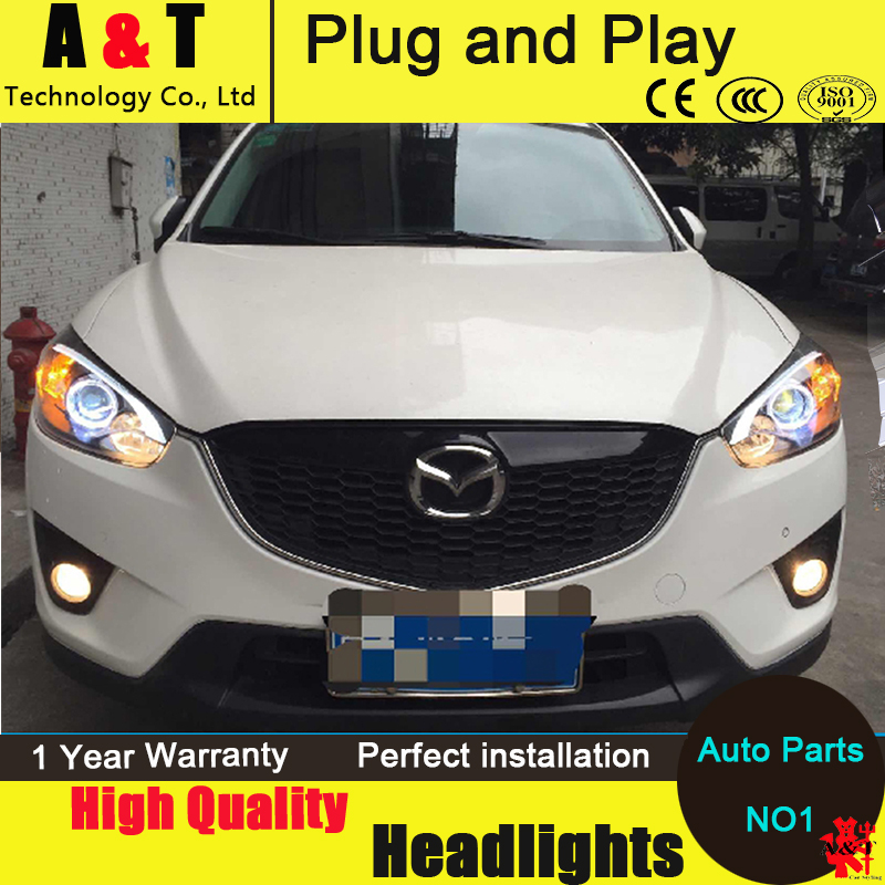 Car Styling For MAZDA CX-5 headlight assembly 11-14 CX5 led headlight new cx-5 led projector headlight H7 with hid kit 2pcs. hireno headlamp for 2012 2016 mazda cx 5 headlight headlight assembly led drl angel lens double beam hid xenon 2pcs