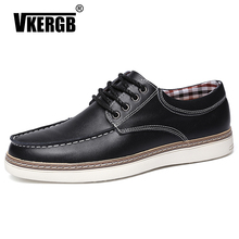 VKERGB Mens British Style Pointed Toe Retro Shoes Lace Up Casual Breathable Genuine Leather Fashion Leisure