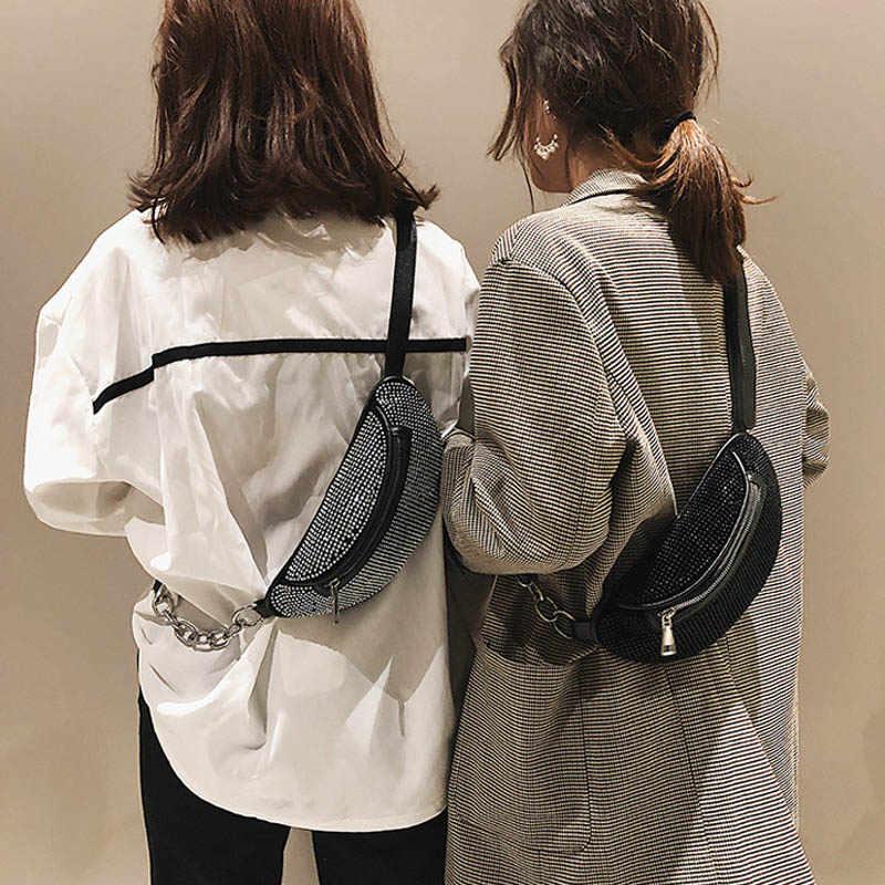 Nuevo paquete de mujeres bolsa de pecho para chica moda diamante bolso de hombro viaje bandolera oblicuo Straddle Pack Zip bolsas de mensajero 030290