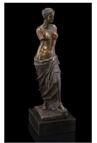 Vênus, o Deus do Amor Clássico Europeu Arte Decoração Do Jardim Escultura Artesanato Estátua de Vênus de Milo 100% real LATÃO