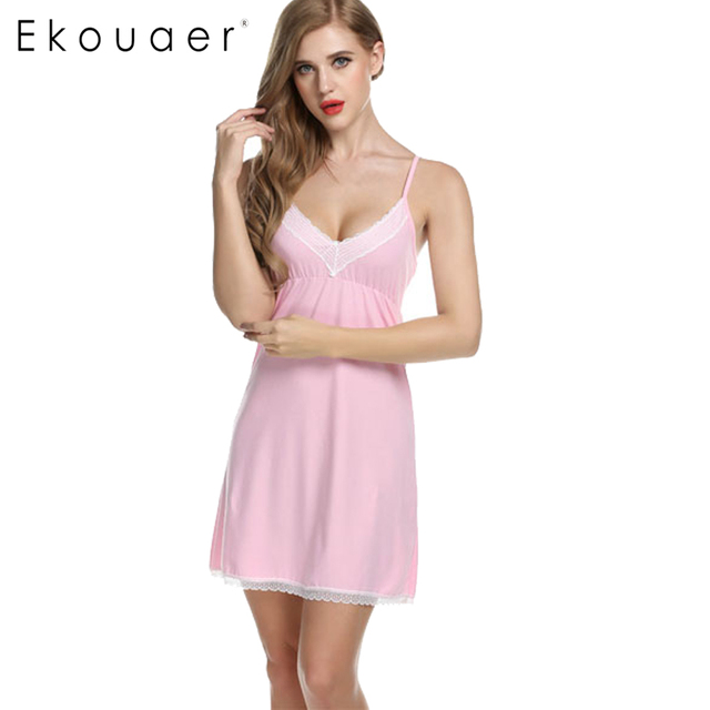 Ekouaer Women Nightgowns Cotton Night Dress Sexy Spaghetti Strap V-Neck Lace  Casual Home Dress 86c8ab88c