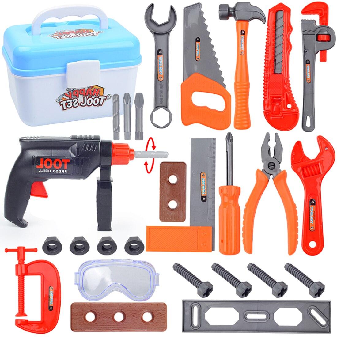 Surwish nuevo Mini caja de 27 piezas niños herramientas de reparación de maleta herramientas juguete conjuntos para niños niñas habilidad y entrenamiento cerebral