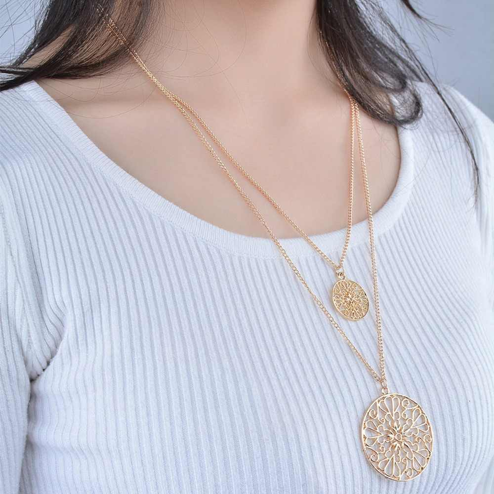 Bohomia dwuwarstwowy łańcuszek duży mały okrągły drążą wzór wisiorek naszyjnik złoty kolor Vintage romantyczny kwiat kobiety biżuteria