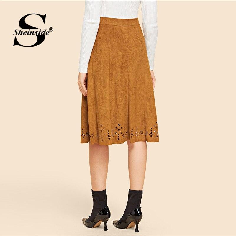 cb8512d2c36 Sheinside marrón corte láser dobladillo gamuza Falda Mujer una línea hasta  la rodilla faldas Vintage 2018 mujeres ropa Oficina señoras Midi falda en  Faldas ...