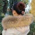Inverno Genuíno Real Natural Raccoon Fur Collar & Mulheres Lenços Jaqueta Casaco Fashion Camisola Cachecóis Cap Gola de Pele De Guaxinim de Luxo R5