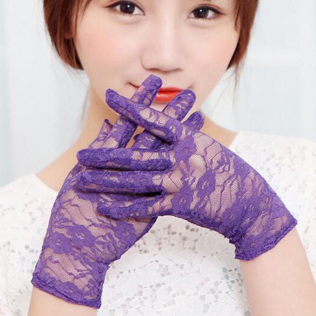 Top Sell Sun Protection Accessories Lace Hollow-Out Gloves Delicate Lace Jacquard Pattern Lace Gloves