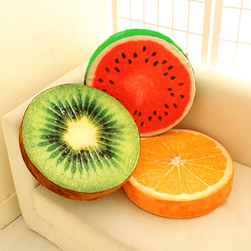 New Cute Creative 3D Summer Fruit Pp Cotton Office Chair Back Cushion Sofa Pillow Soft Decorative Pillow
