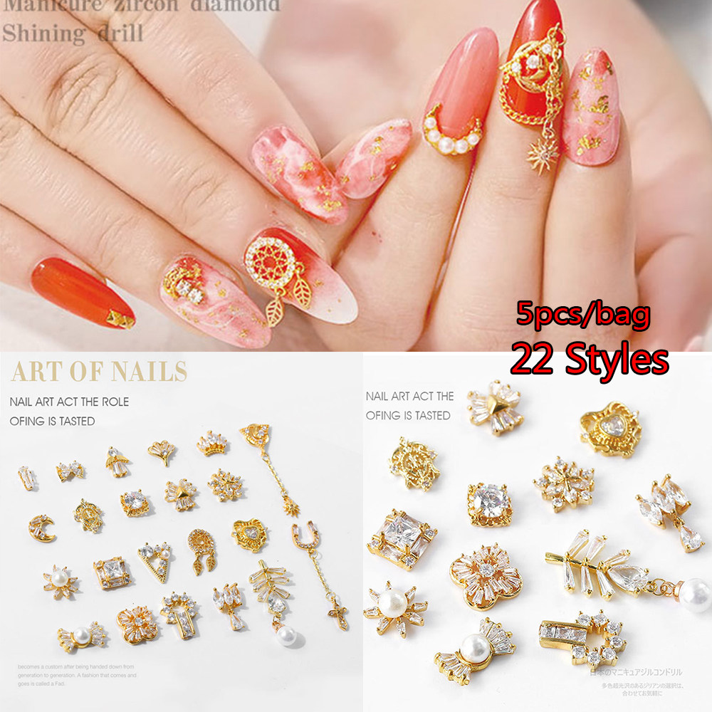 e7139d365e 5PC/Pack Japanese 3D metal gold Zircon Nail Tips For UV Gel nails  decorations crystal Diamond Charms jewelry Manicure Decors DIY
