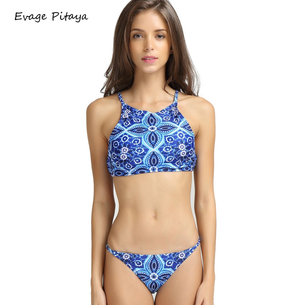 70f515f4c9 2016 Beach Riot Sexy Blue Tie Dye bikini Print Women High Neck Halter Crop  Top Brazilian Swimwear Retro Racerback Caged Swimsuit
