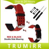 24mm Silikon Gummi Armband Double Side Tragen Band für Suunto Core Handgelenk Gürtel Armband + Lug Adapter + werkzeug