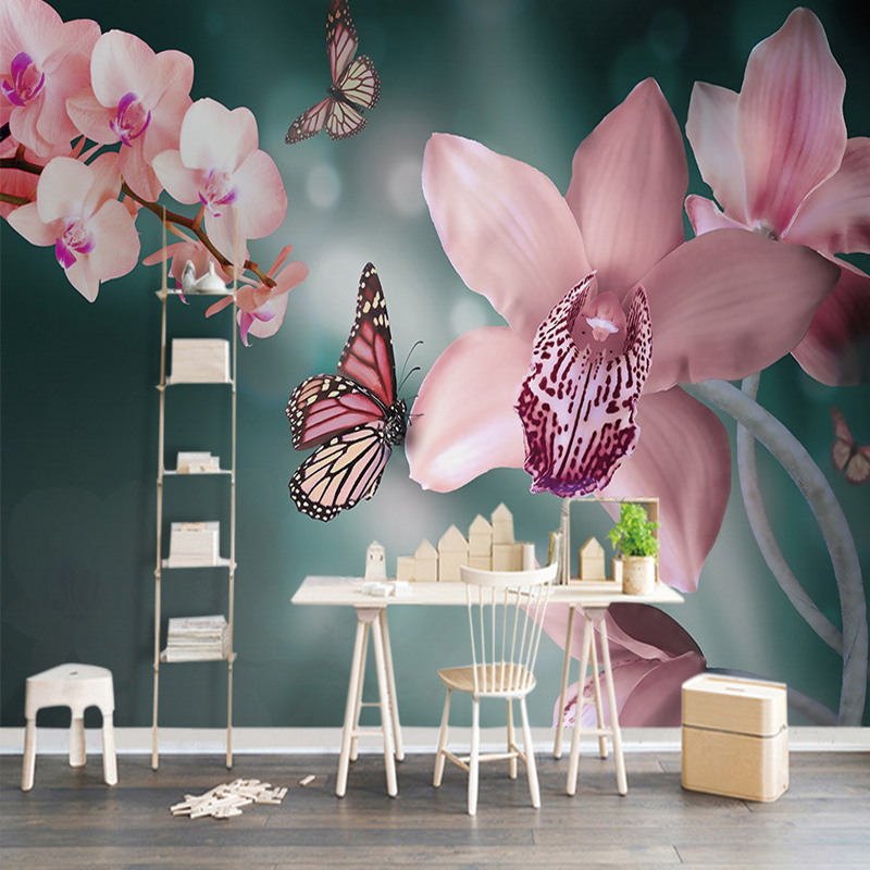 Custom Any Size Wallpaper Warm Fresh Modern 3D Pink Butterfly Orchid Large Bedroom TV Background Wall Mural Background Wallpaper custom any size modern wall wallpaper eiffel tower arches leaves luxury wall covering bedroom mural background wallpapers