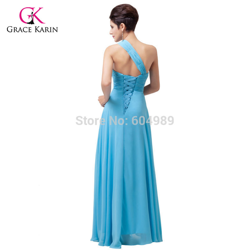 Grace Karin plus size Sky Blue Women Chiffon bead One shoulder Long ...