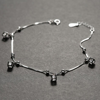 Cube Design Anklets In 925 Sterling Silver With High Luster Cz Stone 21 5 3cm Length