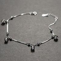 Küp tasarım yüksek parlaklık cz taş ile 925 gümüş Halhal kadınlar kızlar için 21.5 + 3 cm uzunluk sıcak satış
