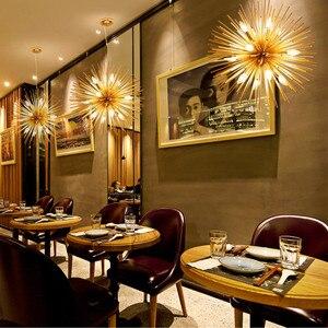 Image 5 - Dandelion Hedgehog Chandelier Aluminum Tube Spark Ball Creative Lamp Golden American Post modern Simple Restaurant Chandelier