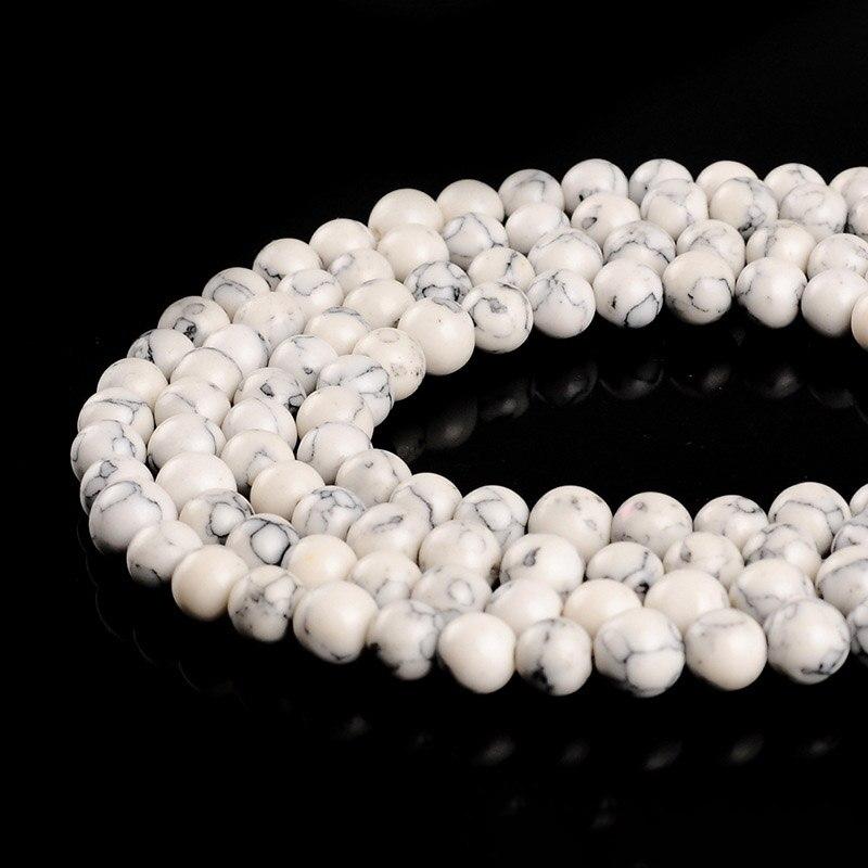 1 Strang/lot 4 6 8 10 12mm Glatte Runde Natürliche Perlen Weiß Türkisen Verkrustete Spacer Bead Für Schmuck, Der Diy Halsketten Armbänder