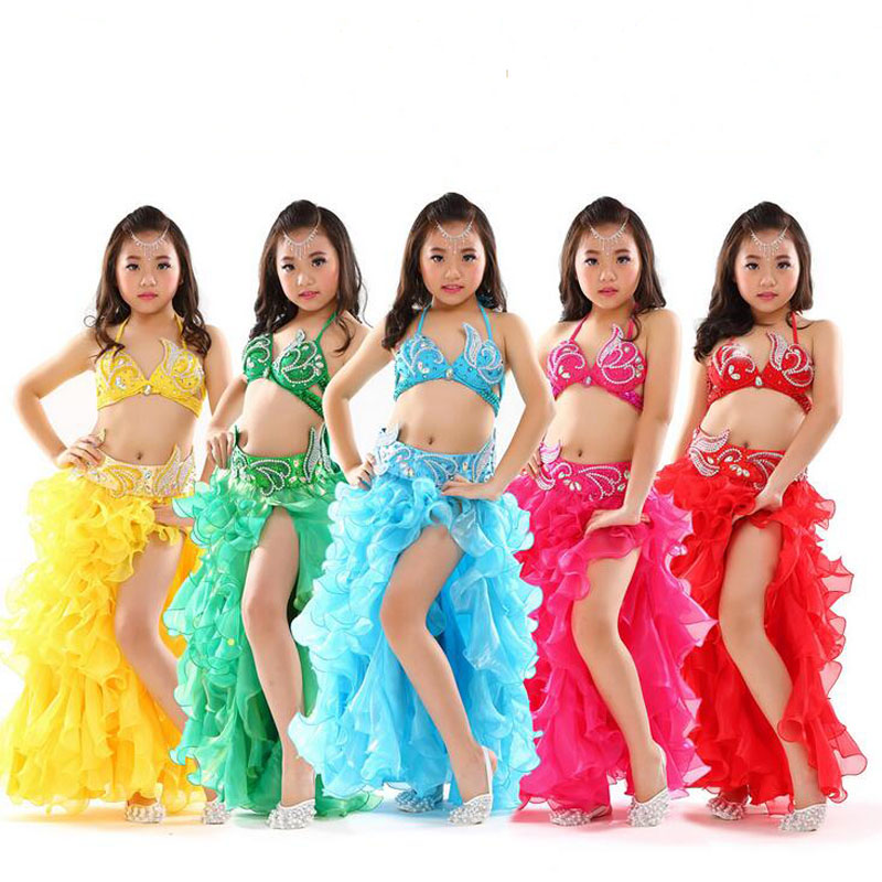 New Stage Performance Costumes for Kids Child Sexy india bollywood Dancing Clothes Bra/Belt/Skirt 3pcs/set 6 colors