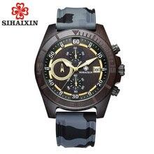 Reloj de silicona impermeable SIHAIXIN de madera para hombre, reloj de pulsera de cuarzo con fecha de negocios para hombre, caja de regalo de madera # A