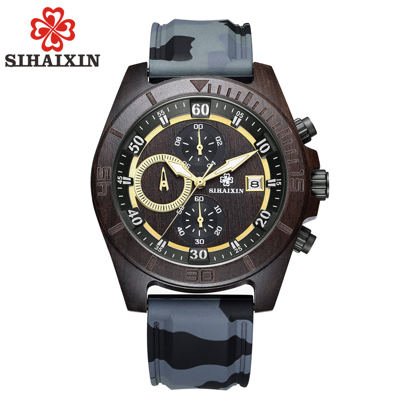 SIHAIXIN 3ATM Waterproof Men Clock Wood Watch Luxury Silicone Bracelet Sport Military Watch Multifunction Calender Male Watches atm amti 1128s