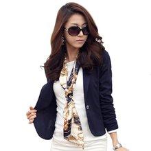 Женщины Пиджак Пальто Мода Повседневная Куртка С Длинным Рукавом Одна Кнопка Костюм Дамы OL Блейзеры(China (Mainland))