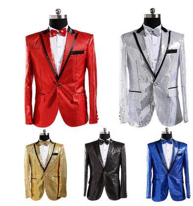 0a69bde2e8 US $63.75 15% di SCONTO|Abiti da uomo disegni costumi di scena per cantanti  uomini paillettes giacca abiti da ballo giacca stile della stella vestito  ...