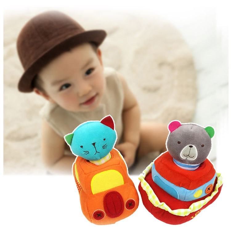 Rational Hot 14cm*10cm Baby Rattle Animal Toy Traffic Car With Cat/boat With Bear Plush Toy Animal Hand Ring Bell Rattles Toys Crib Plush