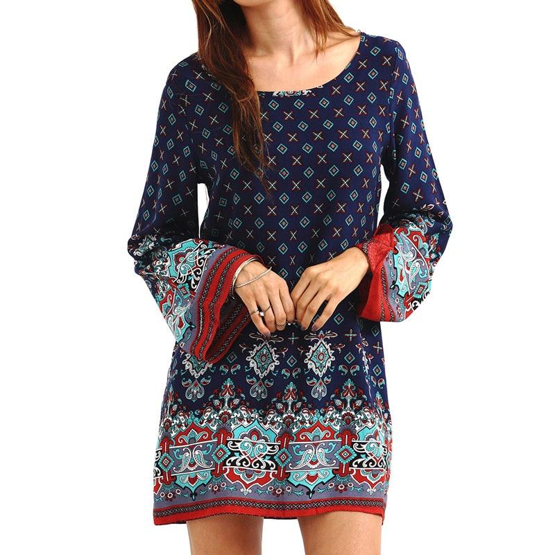 Fashion Women Bohemian Beach Summer Ethnic Dress Boho Print Dress Long Sleeve Loose Mini Dresses FS99