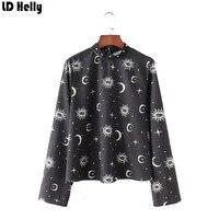LD Helly Spring Autumn 2018 Rivet Shirt Women Moon Pattern Stand Collar Blouse Female Streetwear Loose