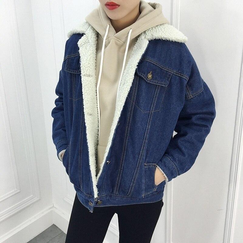Nouvelle Chaud Laine Poches 2018 Manteau Veste Manches Large Longues Outwear Zogaa D'agneau Jeans Denim Black En Avec Femmes blue 4 C4dxdAnqOw