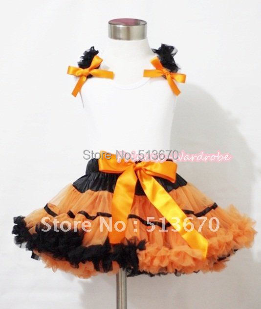 где купить  Halloween Black Orange Trim Pettiskirt & White Tank Top with Black Ruffles and Orange Bows MAMN083  по лучшей цене