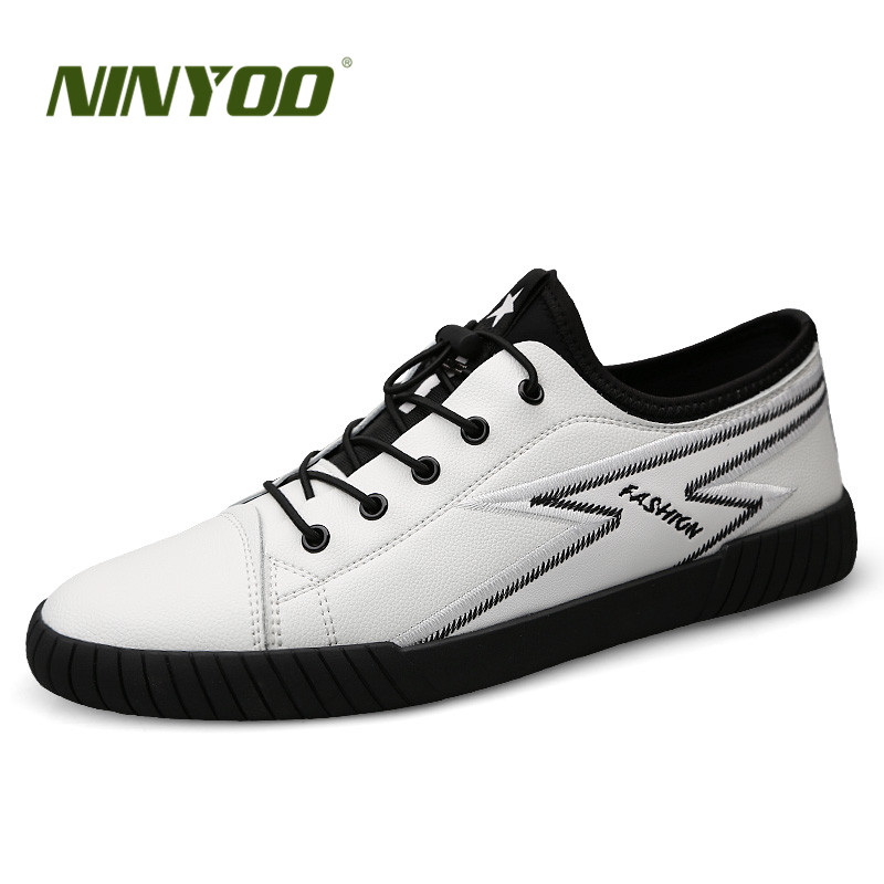 NINYOO Fashion Brand Men Shoes Genuine Leather Casual Sneakers Summer Flat breathable Lace Up White Students Shoes Plus Size 45