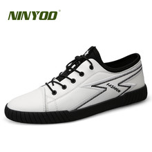 NINYOO Fashion Brand Men Shoes Genuine Leather Casual Sneakers Summer Flat breathable Lace Up White Students Plus Size 45