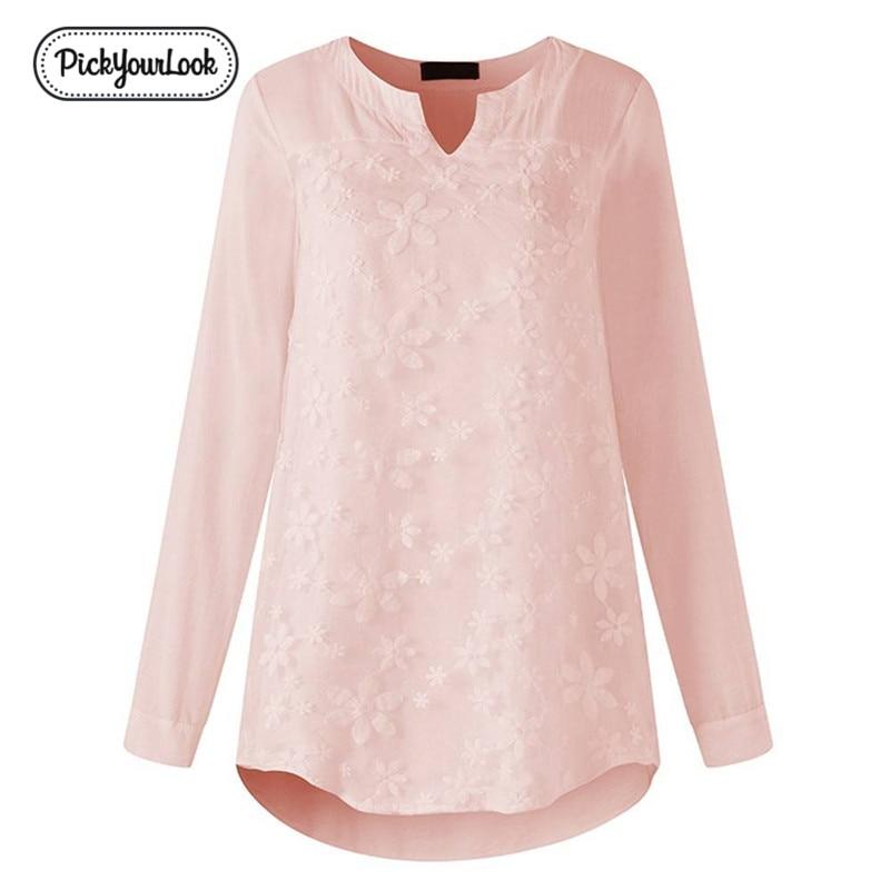 PickyourLook Women Blouses Plus Size Lace Floral Loose Tops White Long Sleeve Cotton Linen Shirt Casual V Neck Female Blouse 5XL