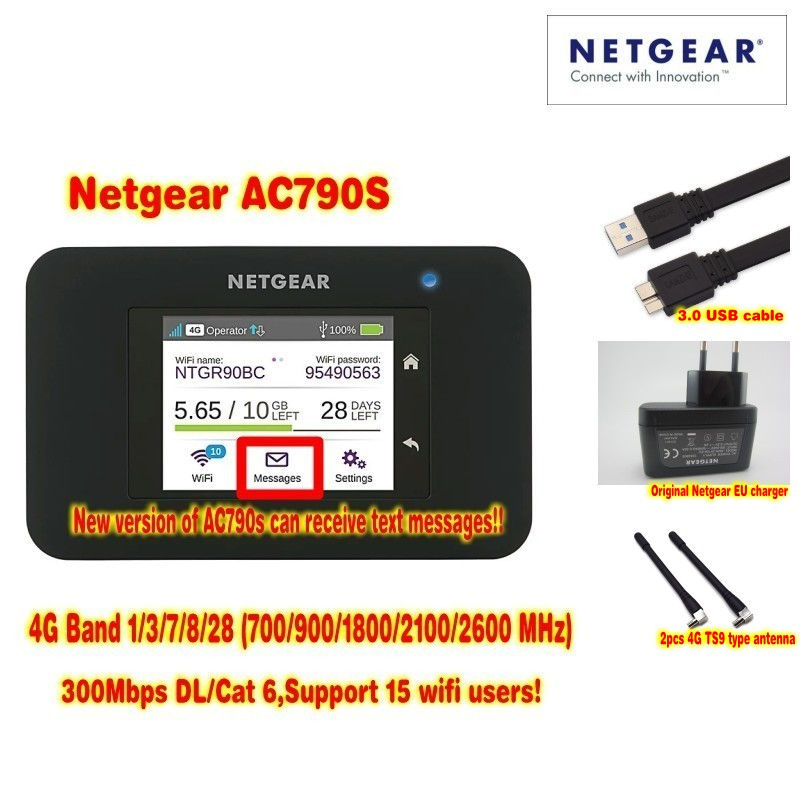 Unlocked Netgear Aircard 790s (AC790S) 300Mbps 4G Mobile Hotspot wifi Router Plus A pair antenna