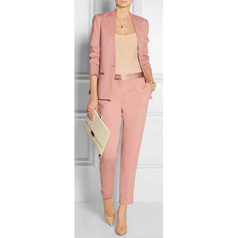 Traje formal de dos piezas para oficina para mujer ajustado a la moda Rosa nuevo personalizado (chaqueta + pantalones)
