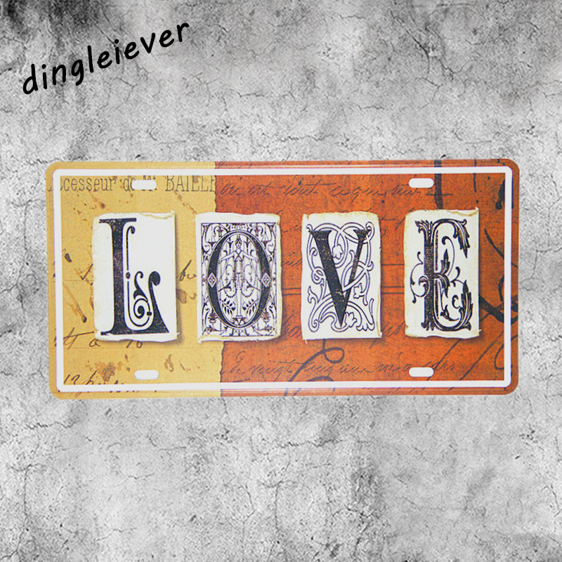 LOVE for you letter License plate vintage metal painting wall pictures for living room ...