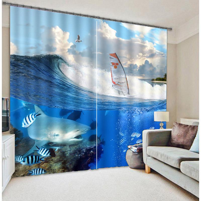 Blackout Zimmer Verdunkelung Nette 3D Shark Panel Vorhnge Schne Muster Design Fenster Fr Kinderzimmer