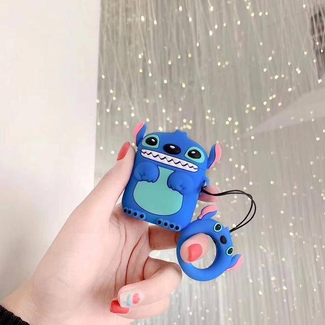 Cute 3D Stitch Cartoon Silicone Protection Ring Lanyard Wireless Earphone Charging Headphones Case For AirPods 1 2 Bluetooth