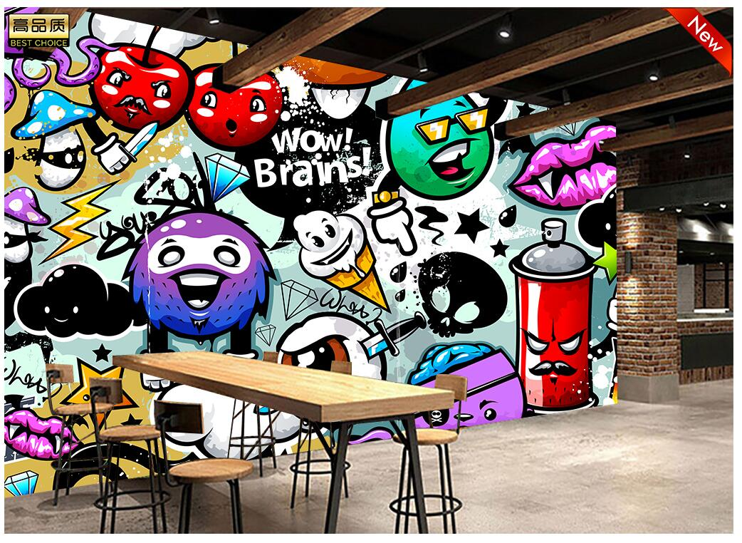 Customize size modern wall paper background hip hop color graffiti wizard art wall covering decor living room mural wallpaper