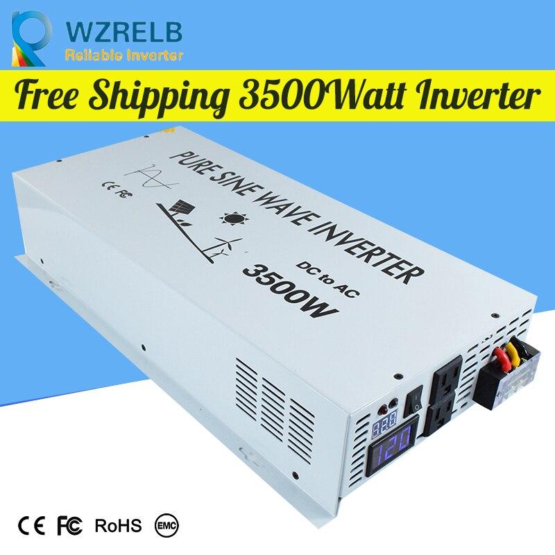 Onduleur solaire à onde sinusoïdale pure 3500 w 24 V à 220 V convertisseur solaire à onde sinusoïdale pure hors réseau