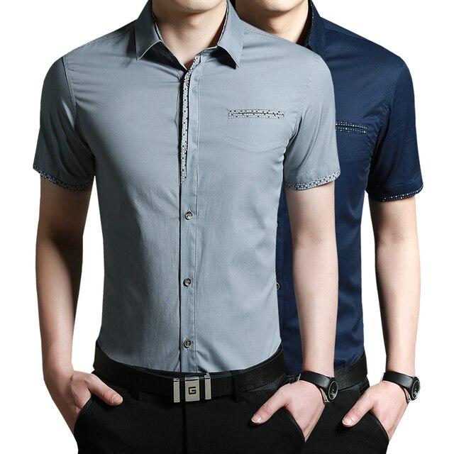 Clothing nuevo 2017 verano nuevos hombres de la llegada venta de hot-corto-manga de la camisa casual slim fit hombres con estilo camisas de vestir