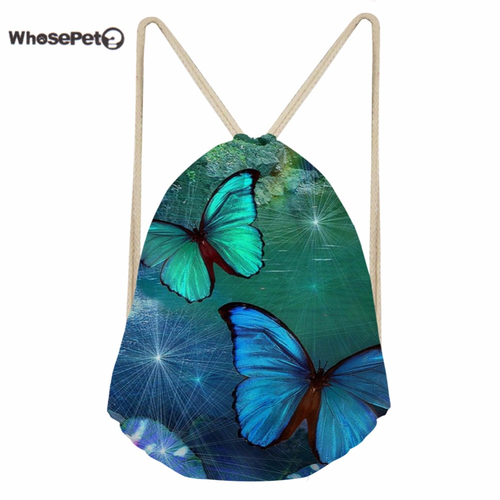 WhosePet Women's Draw String Backpack Bag Small Bright Butterfly Printing Shoulder Backpacks for Teenage Girls Daily Bags