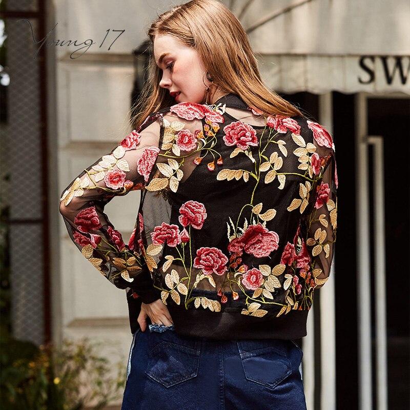 Young17 осенняя куртка Уличная Короткие молнии цветочный принт вышивка тонкие длинные рукава красивые модные девушки осень одноцветное Куртк...