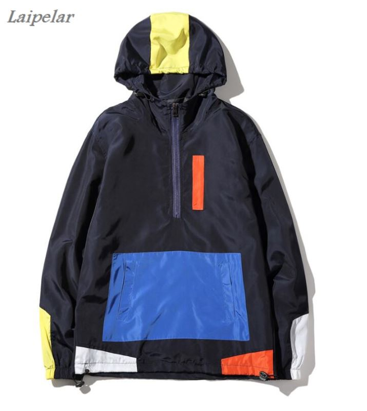 Laipelar jackets HOODY PATCHWORK anorak jacket windbreaker hip hop college student wind breaker jaqueta masculina in Jackets from Men 39 s Clothing