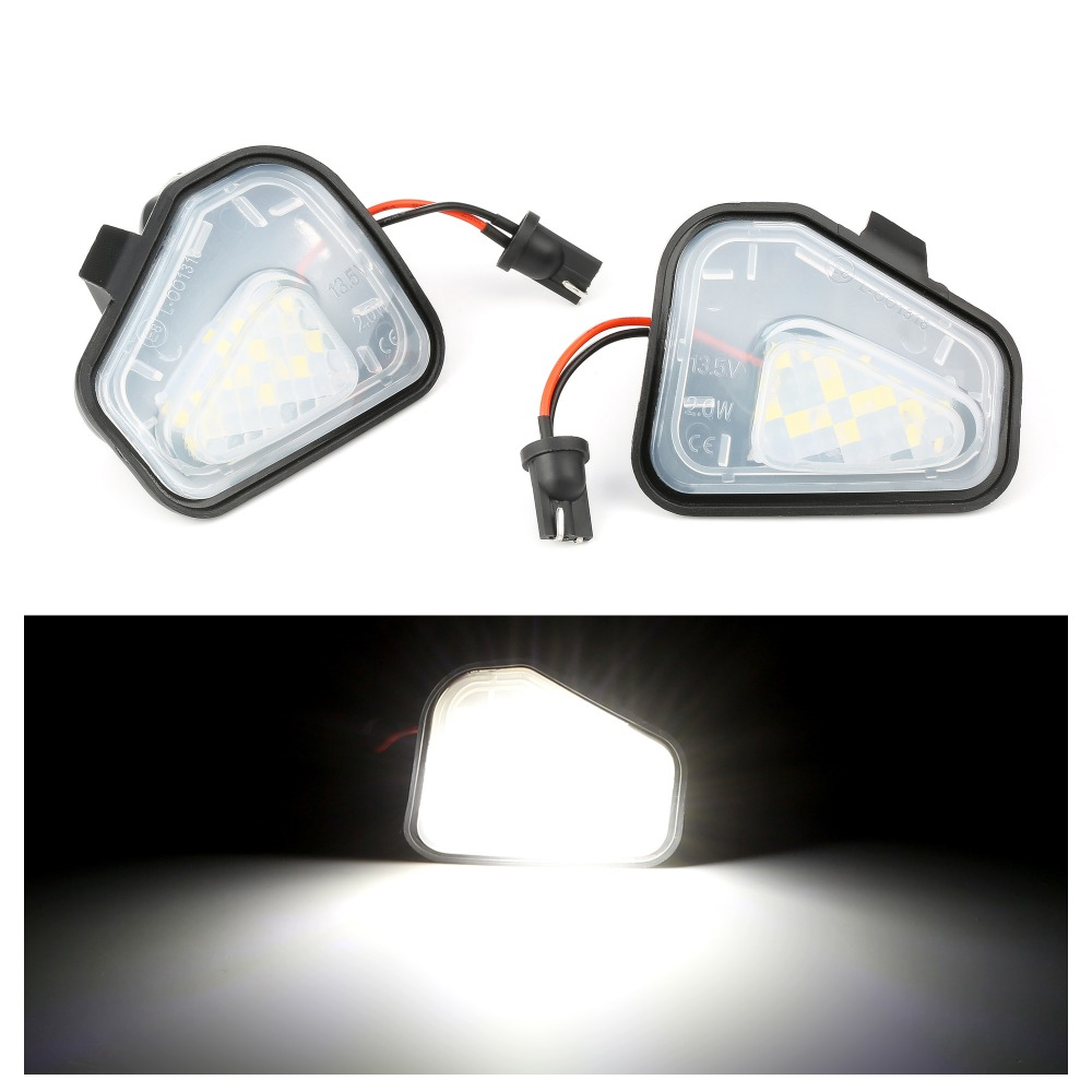 2Pcs Canbus LED Side Mirror Puddle Lights Lamp for VW Volkswagen Jetta 10-15/EOS 09-11/Passat B7 2010~/CC 09-12/Scirocco 09-14(China)