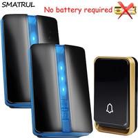 SMATRUL Self Powered Waterproof Wireless DoorBell No Battery EU Plug Home Door Bell 1 2 Button