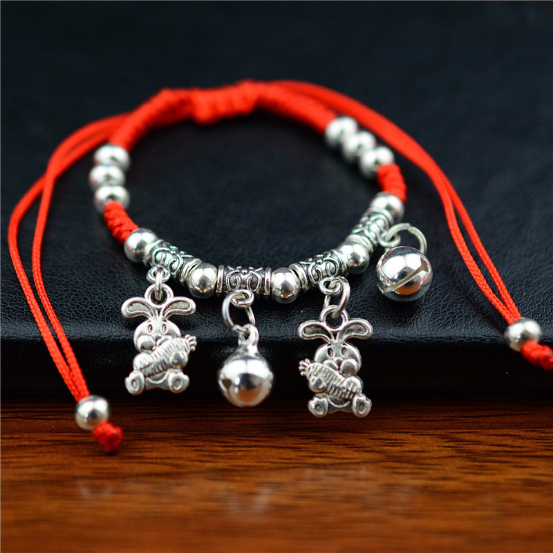 New Fashion Chinese Style Zodiac Bells Pendant Adjustable Bracelet Braided Lucky Red String Rope Handmade Weaving Bracelet